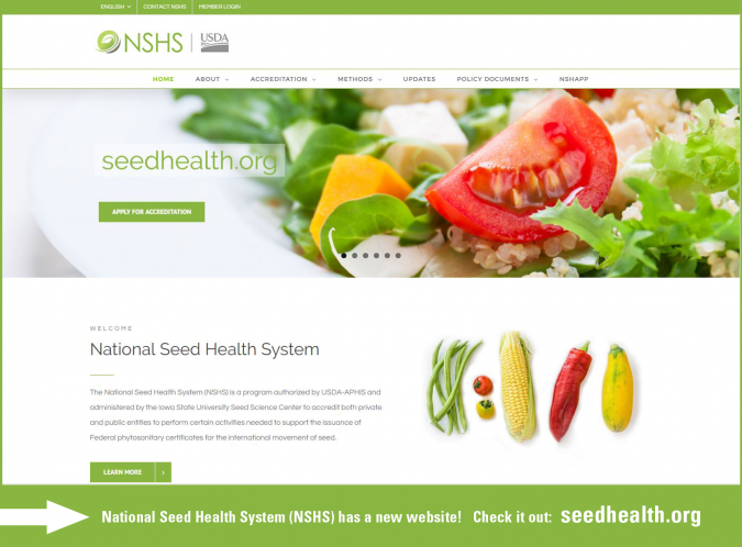 National Seed Health System Website Splash Page