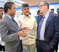 D. Guntuku, CM Naidu, and Bill Gates at AP AgTech Summit 2017